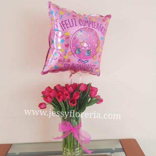 Paquete de florero con 30 tulipanes y globo florerias en guadalajara con servicio a domicilio, zapopan, tlaquepaque, tonala, tlajomulco