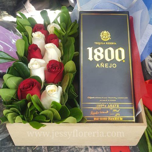 Caja de rosas y vino florerias en guadalajara con servicio a domicilio, zapopan, tlaquepaque, tonala, tlajomulco