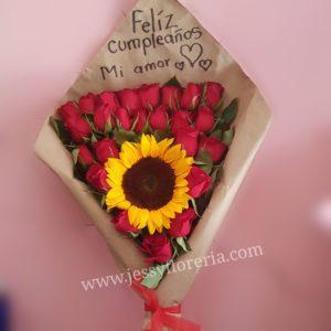 Ramo de 24 rosas y girasol florerias en guadalajara con servicio a domicilio, zapopan, tlaquepaque, tonala, tlajomulco