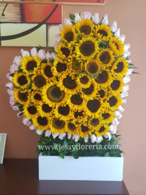corazon de girasoles