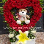 Corazón de rosas y peluche florerias en guadalajara con servicio a domicilio, zapopan, tlaquepaque, tonala, tlajomulco