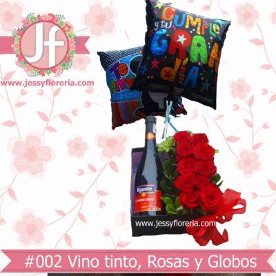 Rosas botella y globos