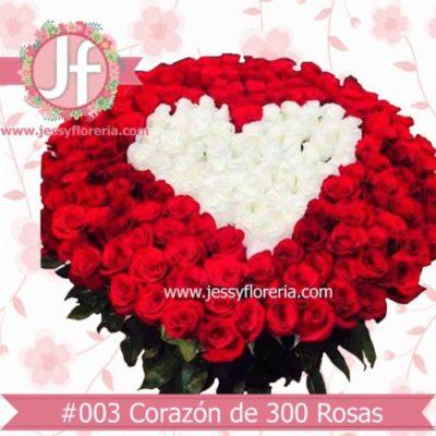 Canasta de 300 rosas con corazón