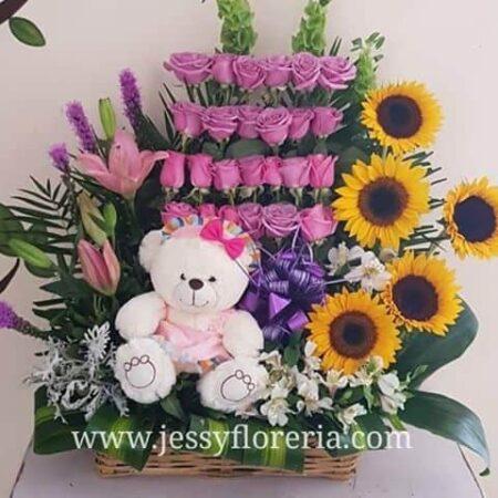 Canasta de rosas girasoles y peluche ¿Como cuidar los arreglos florales?