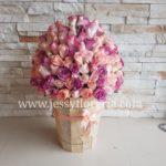 Bote con 150 rosas rosadas