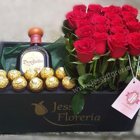Caja 20 rosas Ferreros y Don Julio