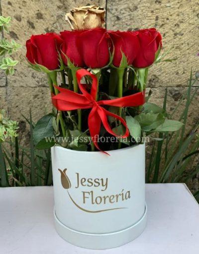 Caja redonda con 25 rosas
