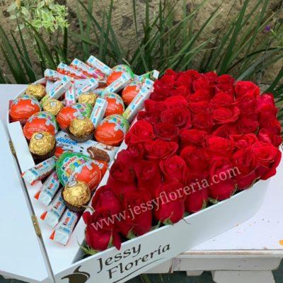 Corazón 50 rosas Kinder