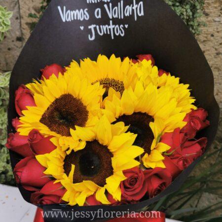 096-Bouquet 6 girasoles y 24 rosas