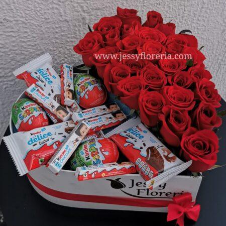 Corazón 25 rosas Kinder