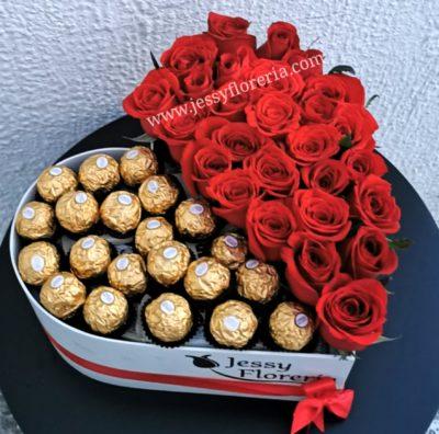 Corazón con rosas Ferreros
