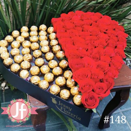 148 caja corazon 60 rosas 50 chocolates