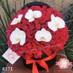 171-Caja circular 100 rosas rojas y orquideas