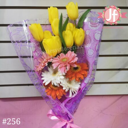 256 Bouquet 10 Tulipanes 6 Gerberas