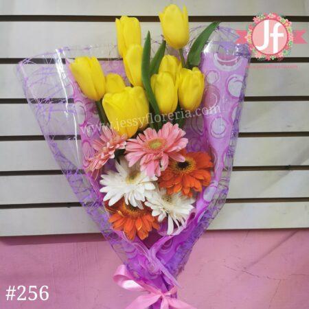 256 Bouquet 10 Tulipanes 6 Gerberas