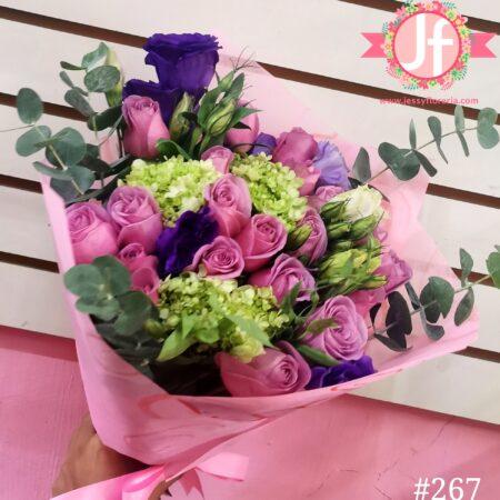 267-Bouquet 24 rosas y follajes