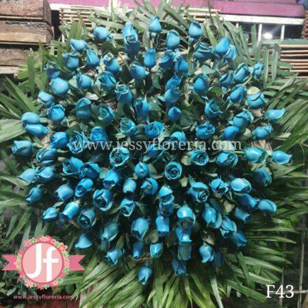 F43 Corona 100 rosas azules