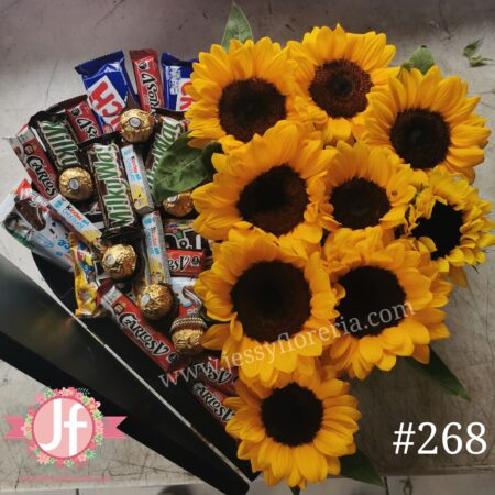 268 Corazón media tapa Girasoles y 30 chocolates