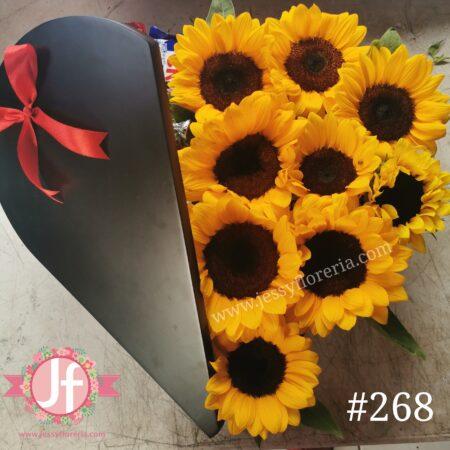 268 Corazón media tapa Girasoles y 30 chocolates