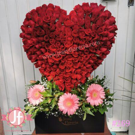 269-Corazón 200 rosas rojas