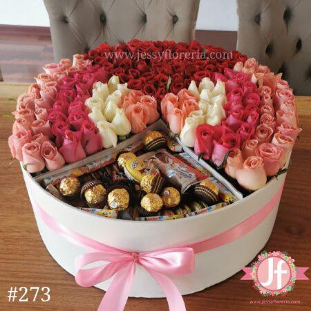 273 Caja 200 rosas y chocolates