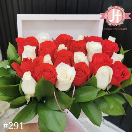 291 Cofre con 24 rosas rojas y blancas