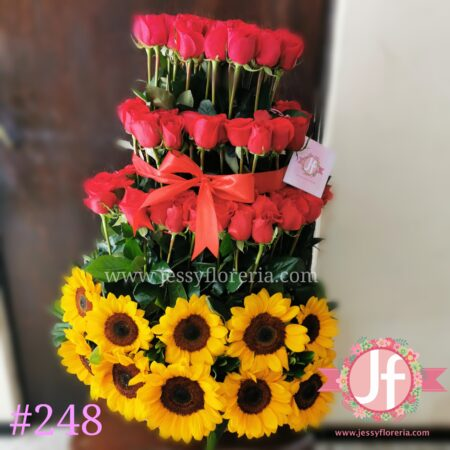 248 Piramide 100 rosas 20 Girasoles