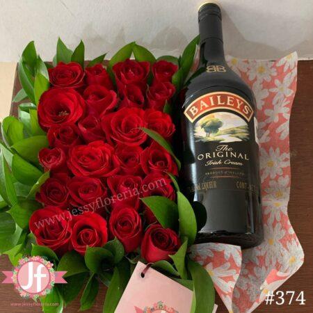 374-Caja 24 rosas rojas con Baileys