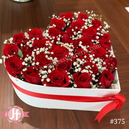 375-Corazón 25 rosas con gypson