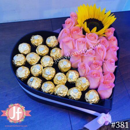 381-Corazón rosas rositas, girasol y ferreros