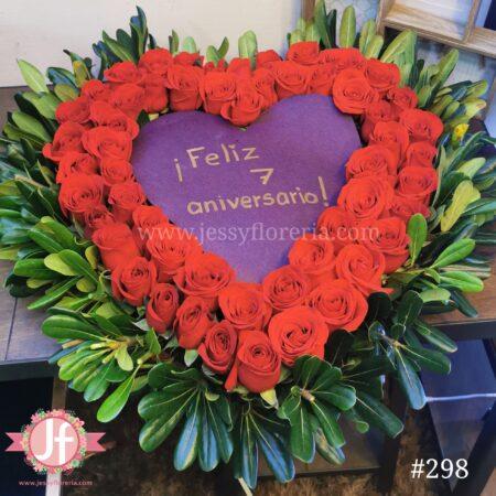 Corazón de 50 rosas con mensaje