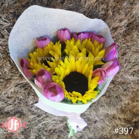 Bouquet 10 tulipanes 3 Girasoles