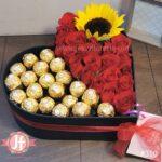 Corazón rosas, girasol y Ferrero