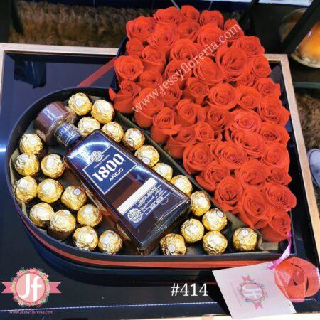 414 Corazon 50 rosas, 1800 añejo y Ferreros