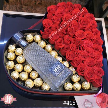 415- Corazón50 rosas, 1800 Cristalino y Ferreros