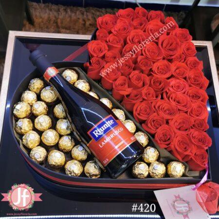 420 Corazon 50 rosas, Lambrusco y Ferreros