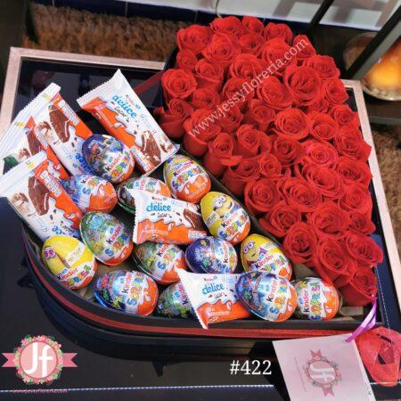 422 Corazon 50 rosas y 20 huevo Kinder