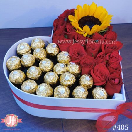 405 Corazón Blanco Ferreros, 20 Rosas & Girasol