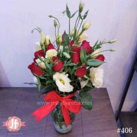 406 Floreros 12 Rosas & lisianthus