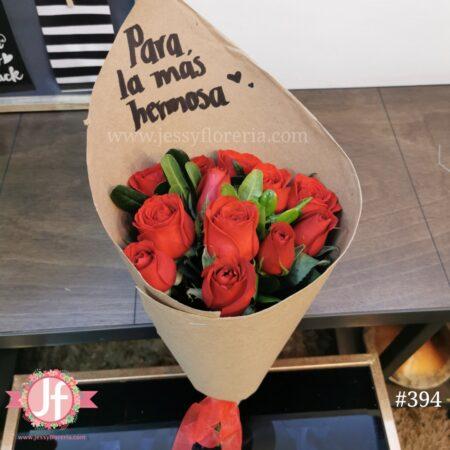 394 Bouquet 12 rosas rojas craft