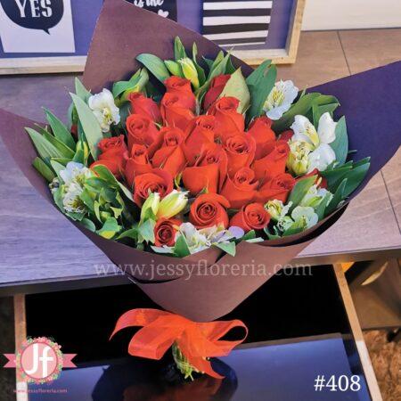 408 Bouquet 24 rosas & alstroemerias