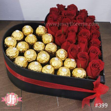 399 Corazón negro 25 rosas 20 Ferrero