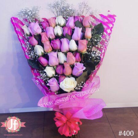 400-Bouquet 33 rosas tonos claros