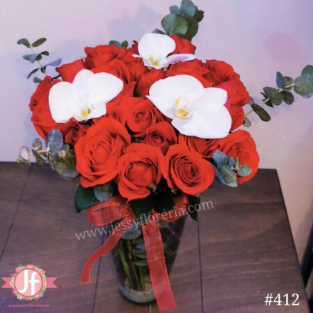 412-Florero 24 rosas y 3 orquídeas
