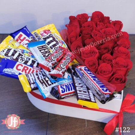 122- Corazón 25 rosas y chocolates