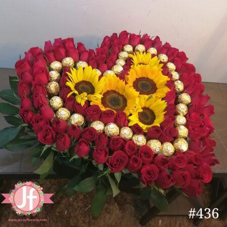 Caja corazón de rosas, ferreros y girasoles