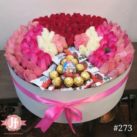 Caja 200 rosas y chocolates
