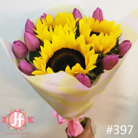 397-Bouquet 10 tulipanes 3 Girasoles