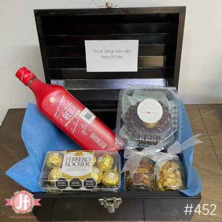 452-Cofre Red Label, Ferrero, botana y Dona