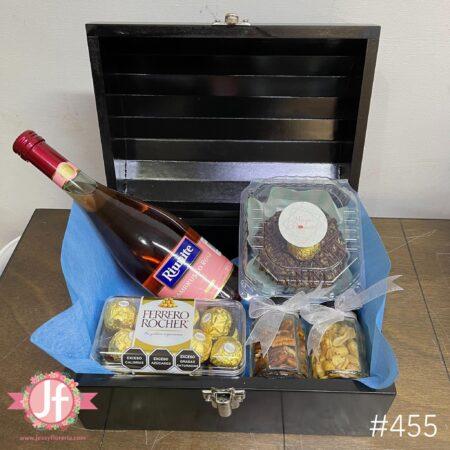 455-Cofre Lambrusco rosa, Ferrero, botana y Dona